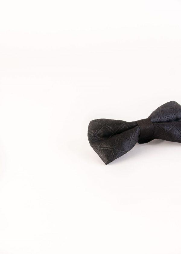 پاپیون طرح دار لوزی مردانه overleft مشکی BT1009