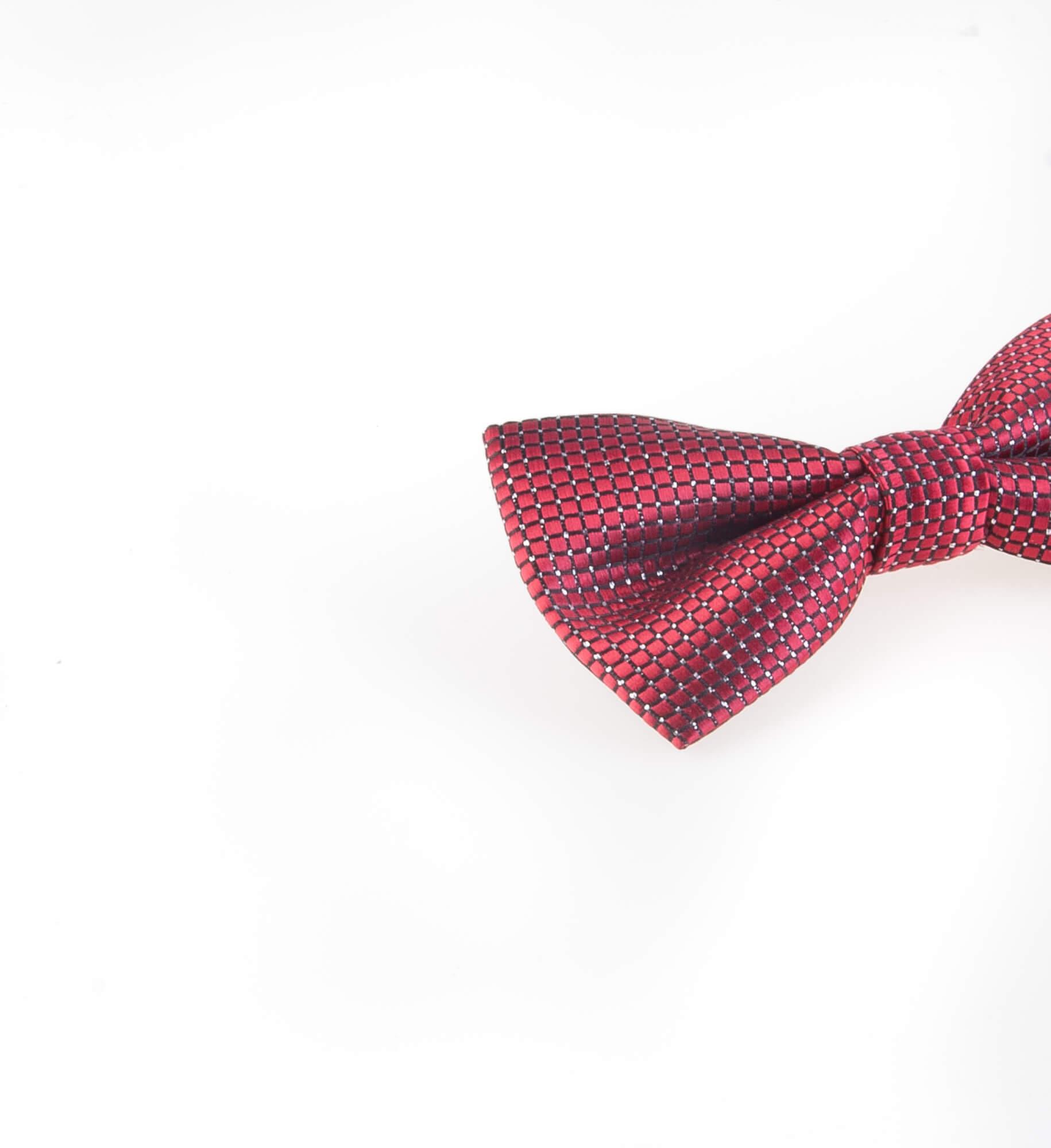 پاپیون طرح دار مردانه ساتن رنگ قرمز BT1076
