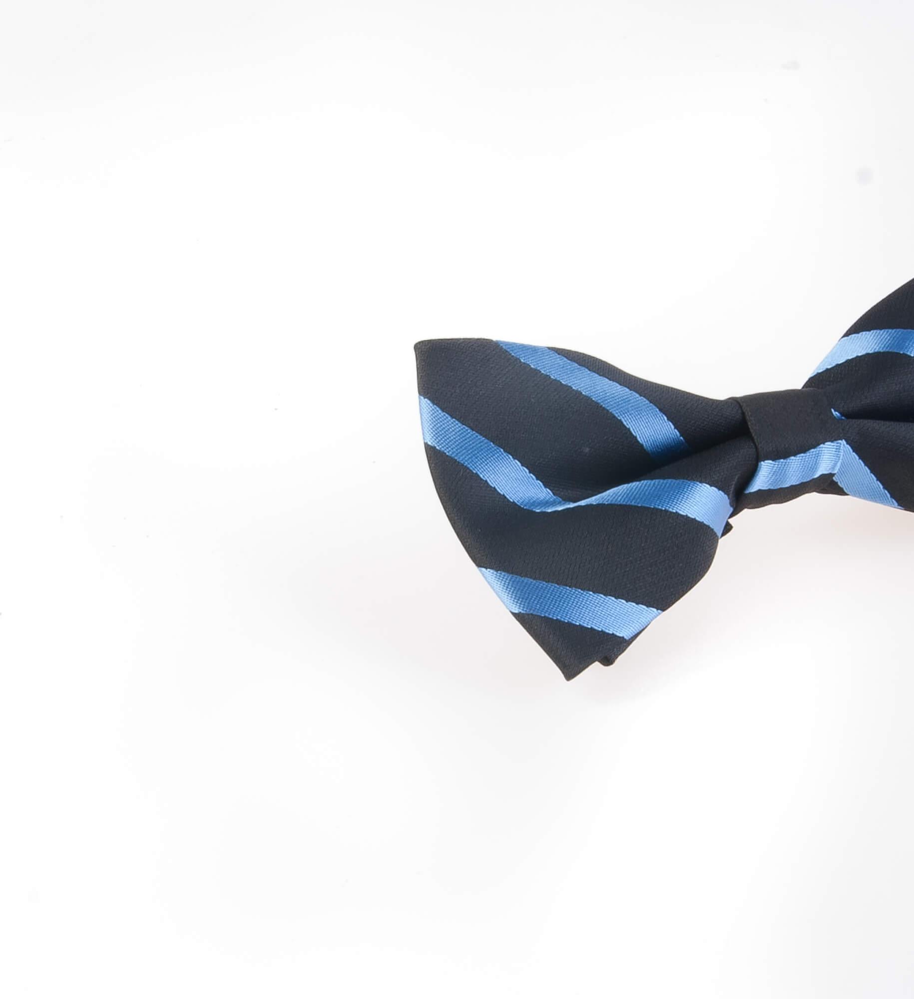 پاپیون طرح دار مردانه ساتن رنگ مشکی-آبی BT1074