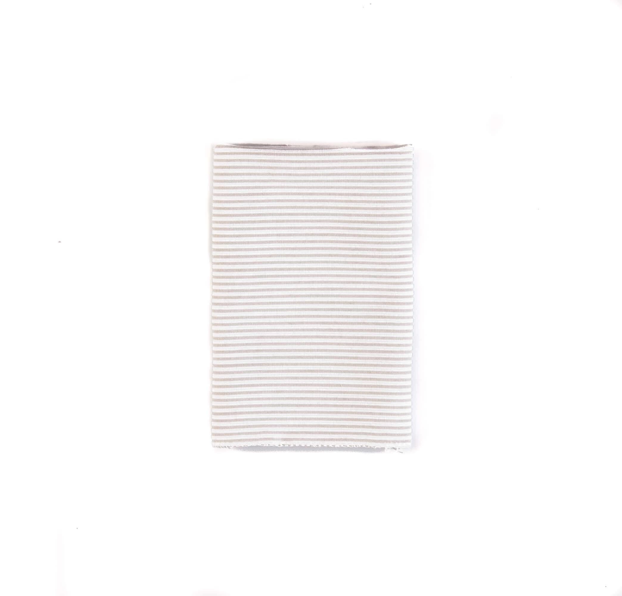 دستمال جیب طرح راه راه رنگ سفید-طوسی کد PS1045