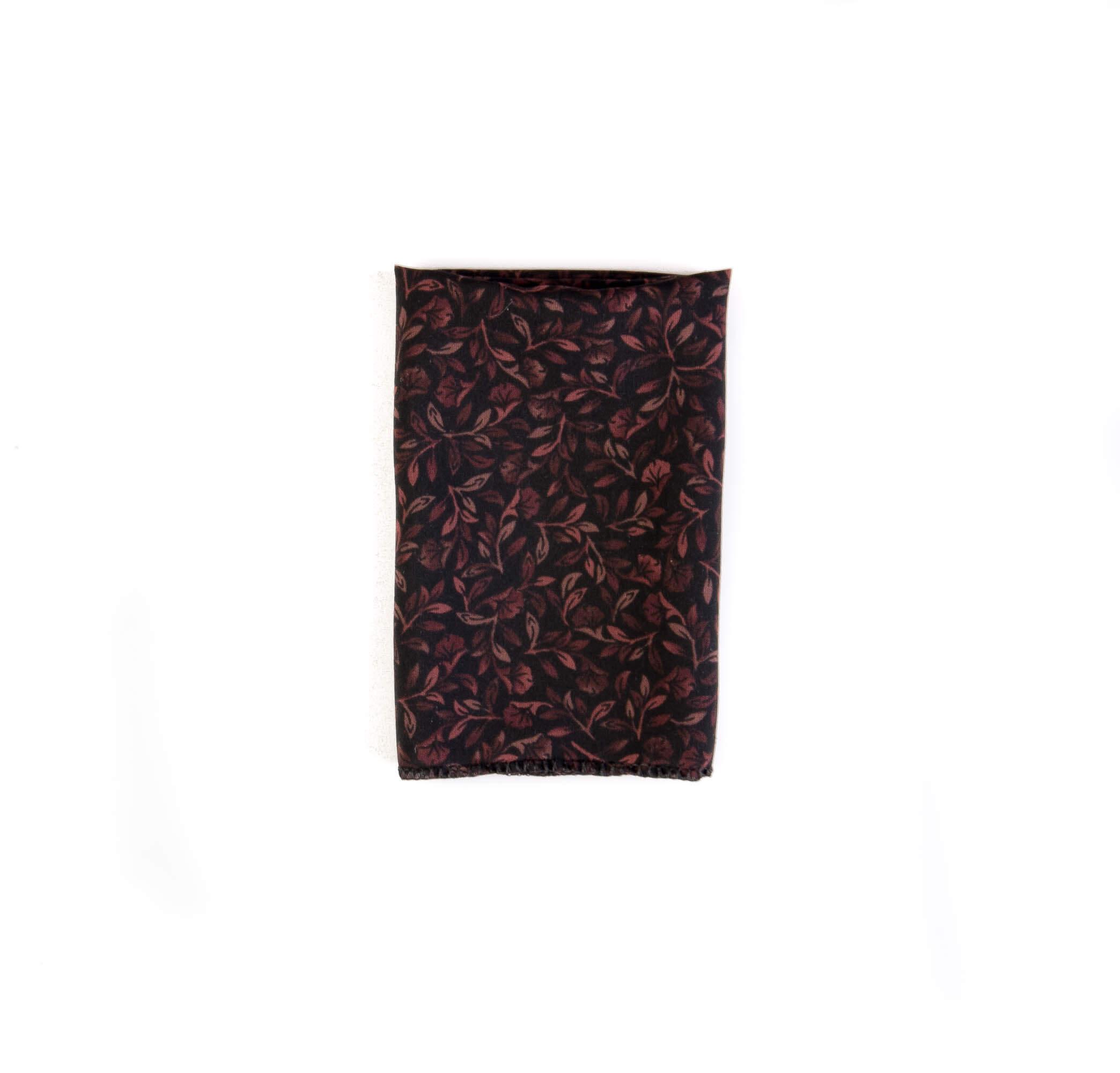 دستمال جیب طرح برگ رنگ مشکی-قهوه ای کد PS1047