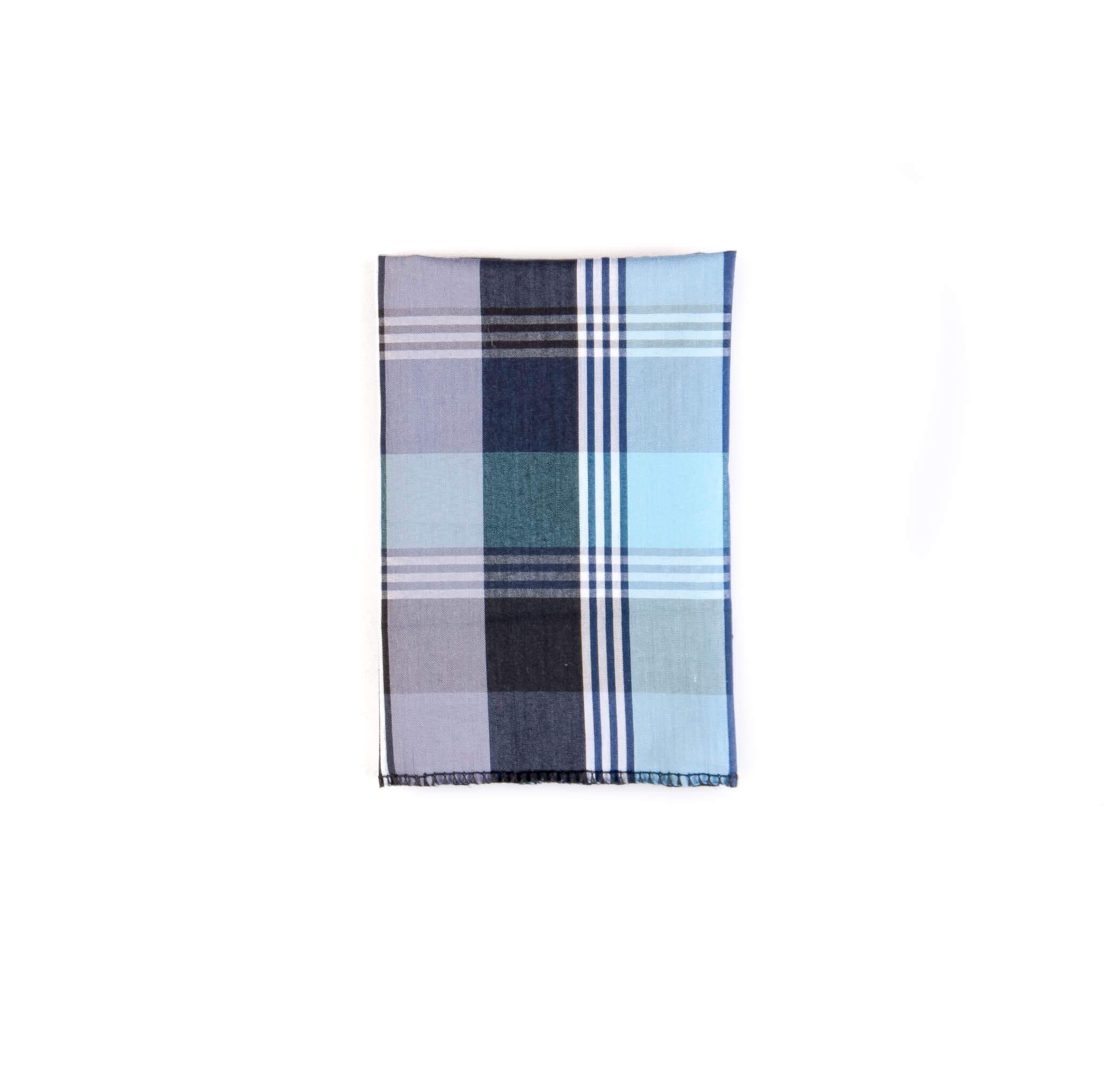 دستمال جیب طرح چهارخانه رنگ آبی کد PS1055
