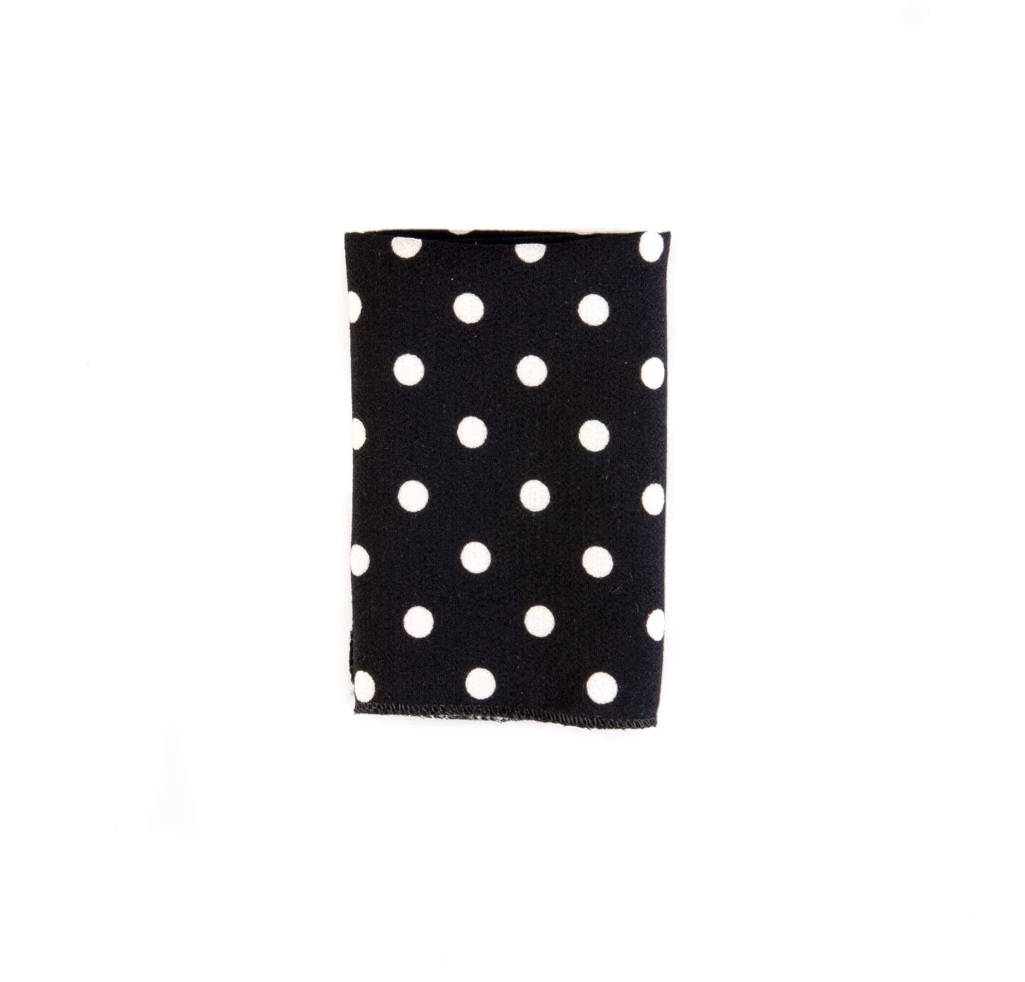 دستمال جیب طرح خالدار بافت دار رنگ مشکی-سفید کد PS1057