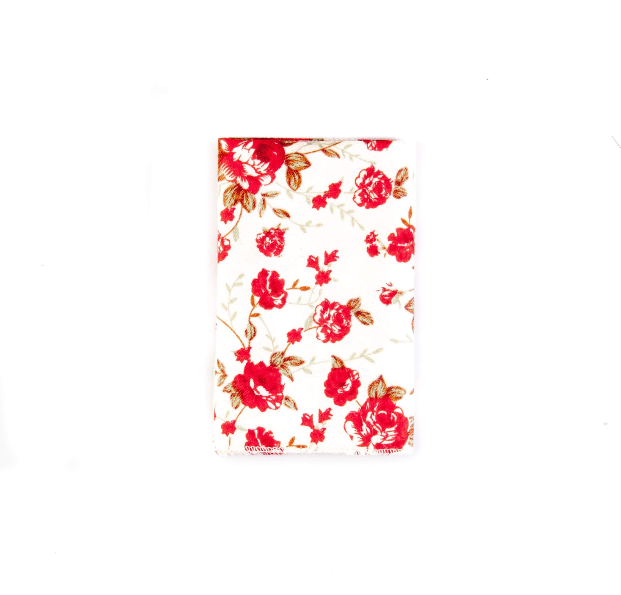 دستمال جیب طرح گلدار رنگ سفید-قرمز کد PS1063