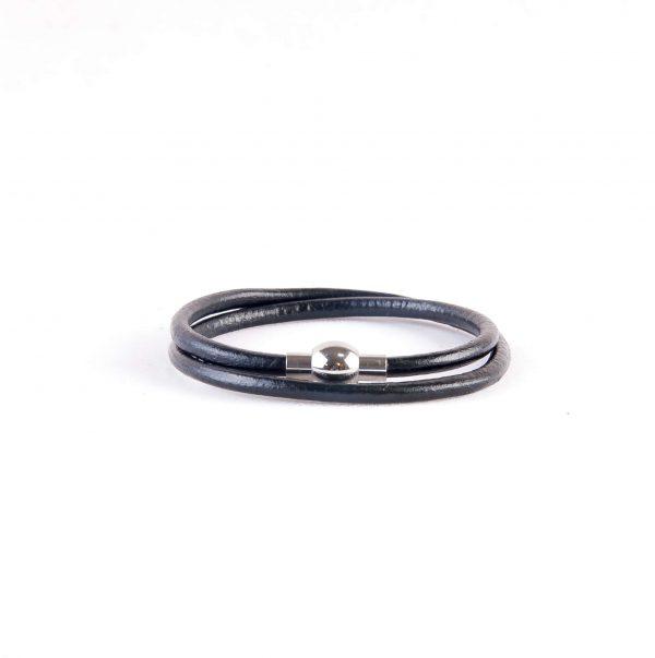 دستبند چرمی فلزی مردانه