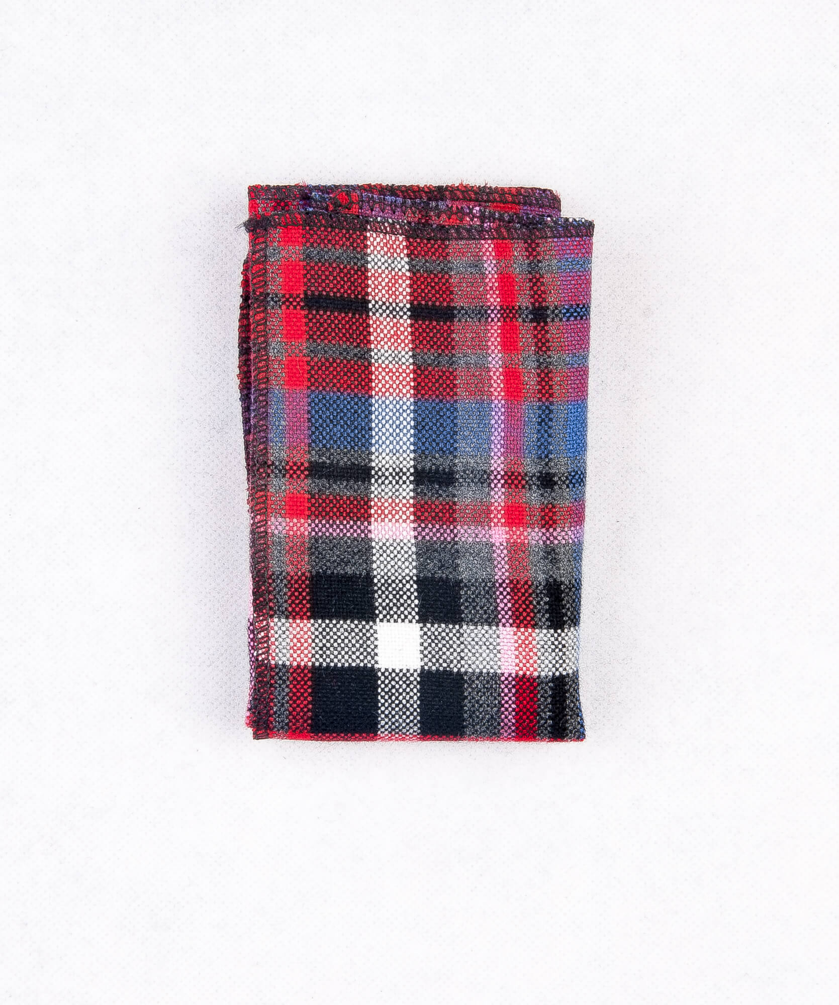 دستمال جیب طرح دار چهار خانه قرمز PS1018