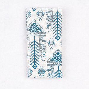 دستمال جیب طرح دار رنگ سفید-آبی PS1017