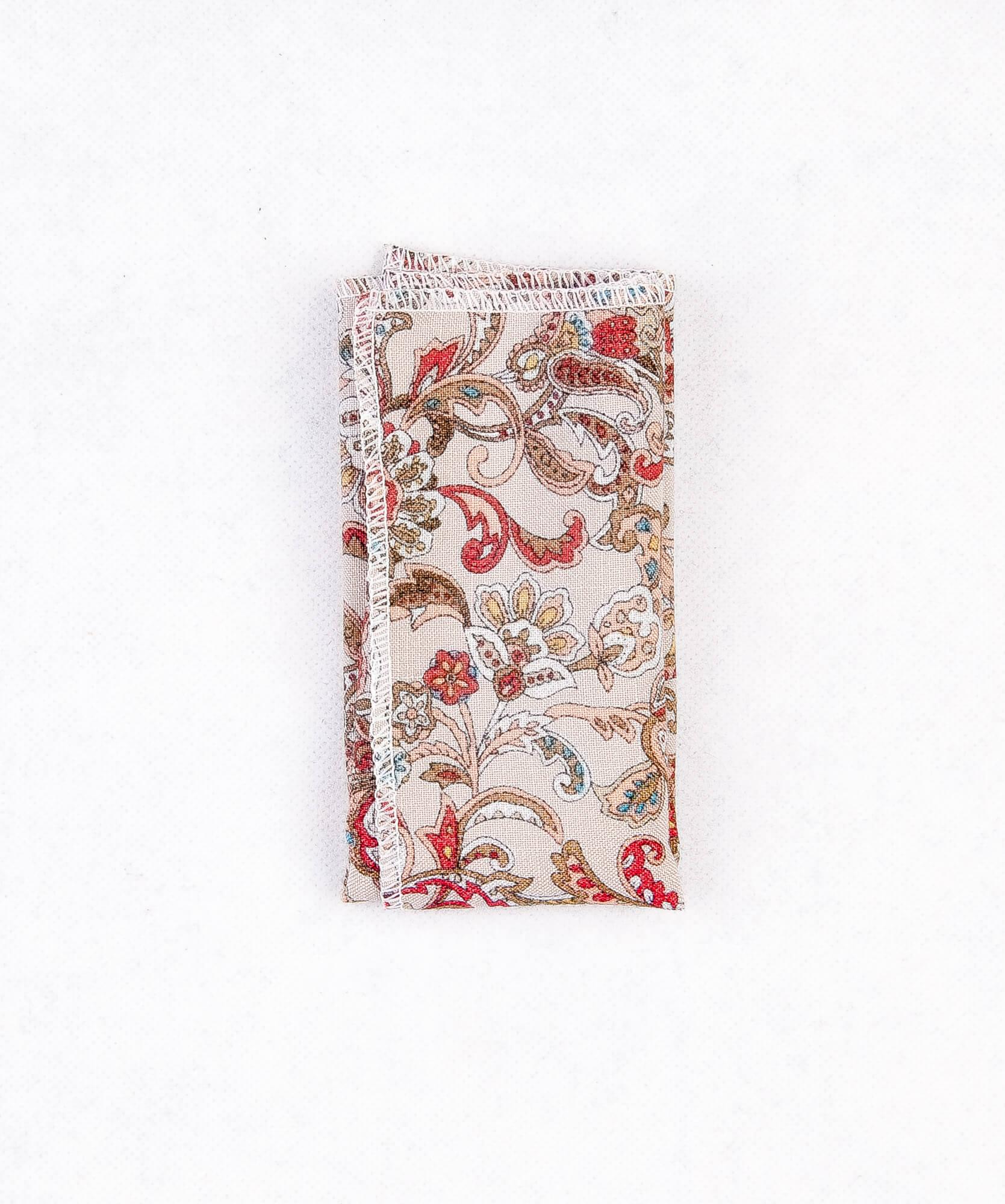 دستمال جیب طرح دار رنگ سفید-قرمز PS1014
