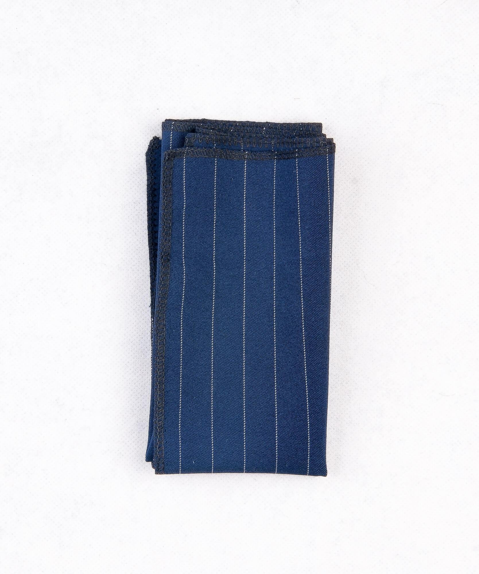 دستمال جیب طرح دار راه راه رنگ سرمه ای PS1006