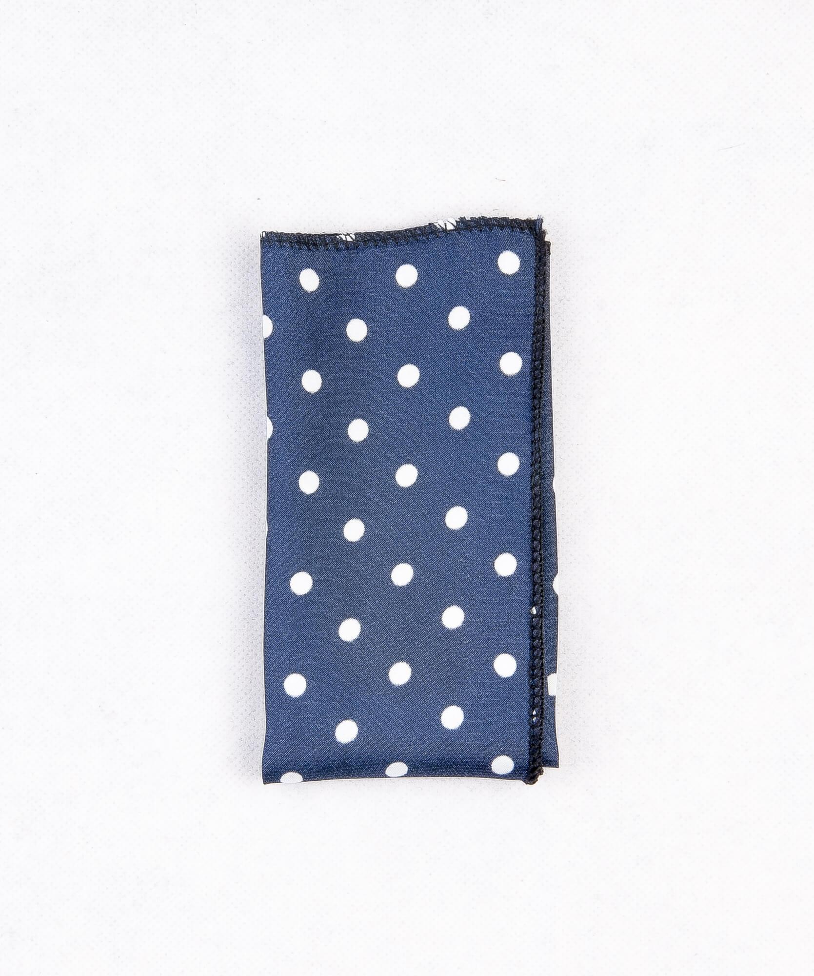 دستمال جیب طرح دار خال دار رنگ سرمه ای PS1002