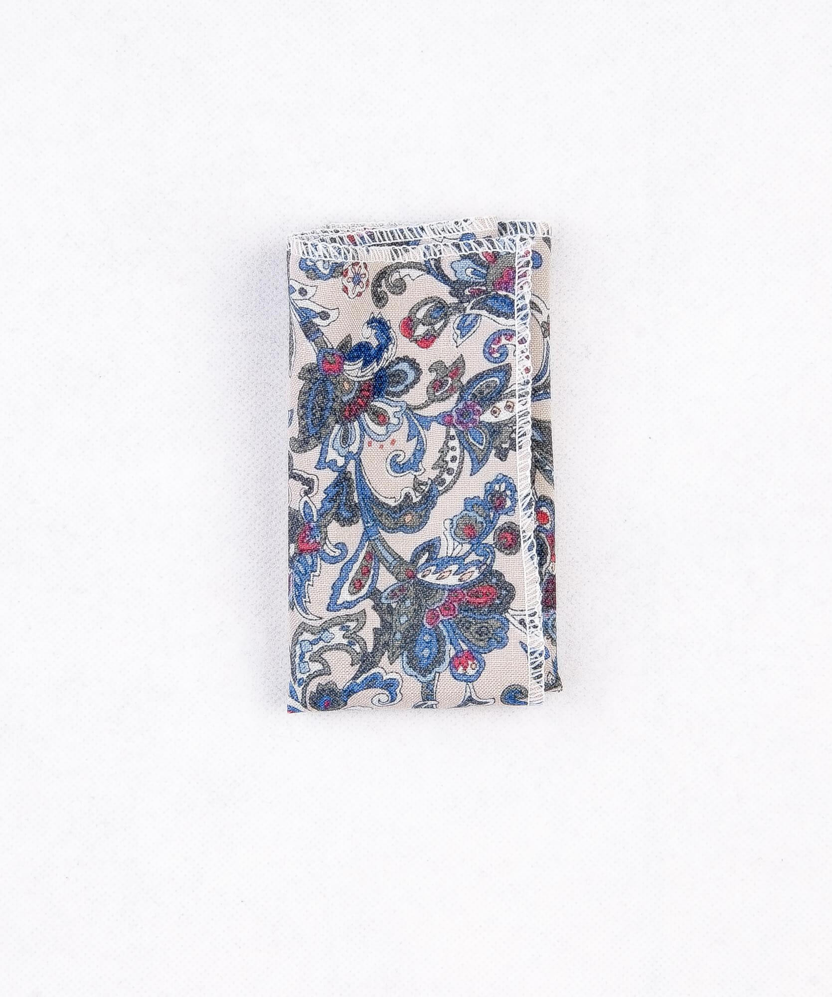 دستمال جیب طرح دار رنگ سفید PS1029