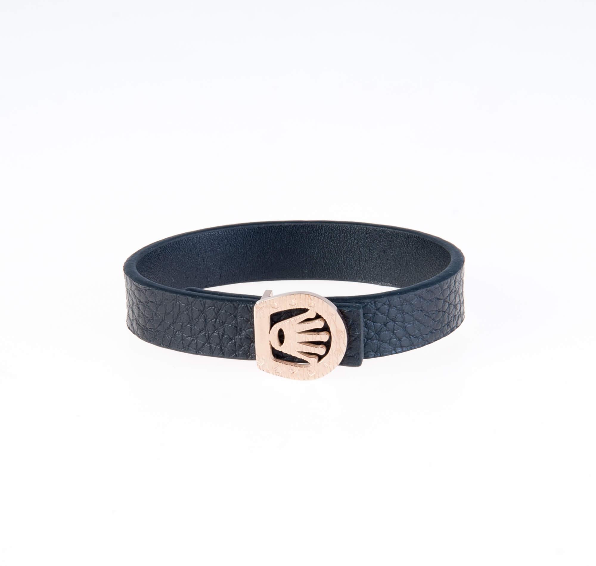 دستبند چرمی مشکی مردانه LM1008