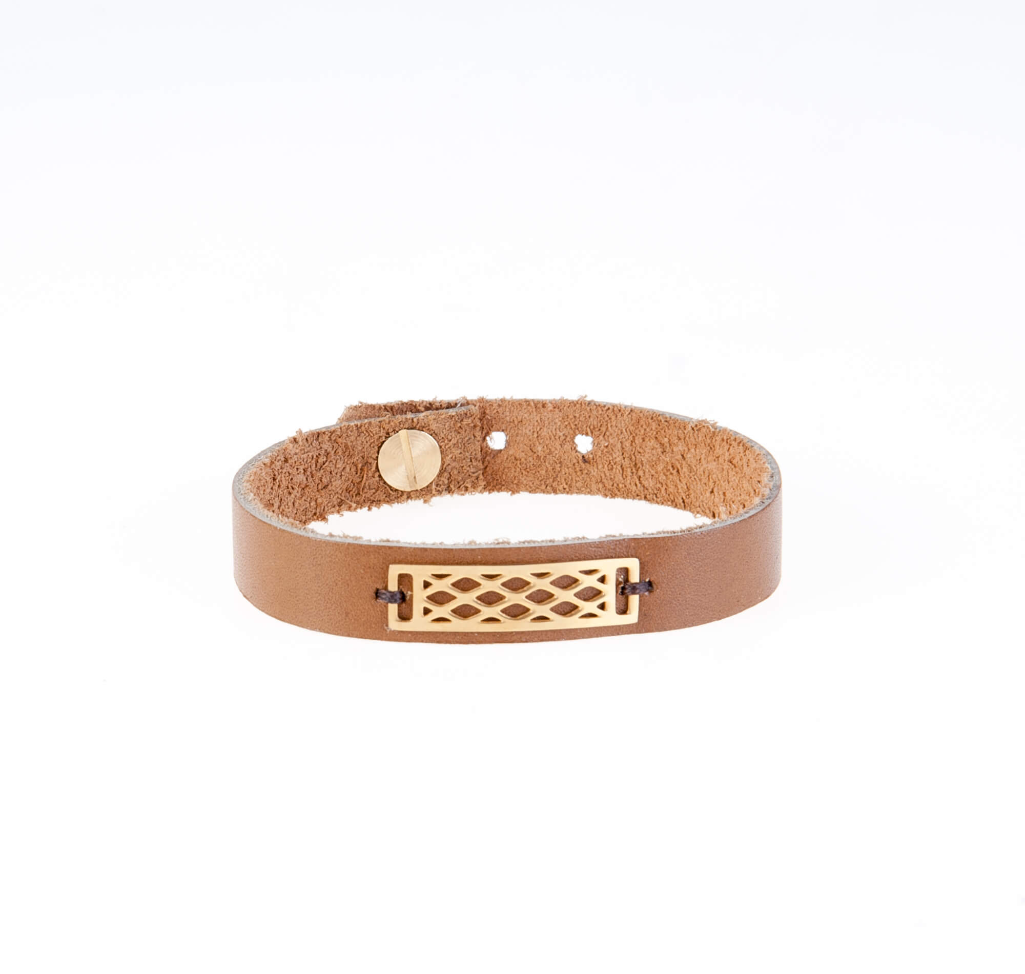 دستبند چرمی قهوه ای مردانه LM1013
