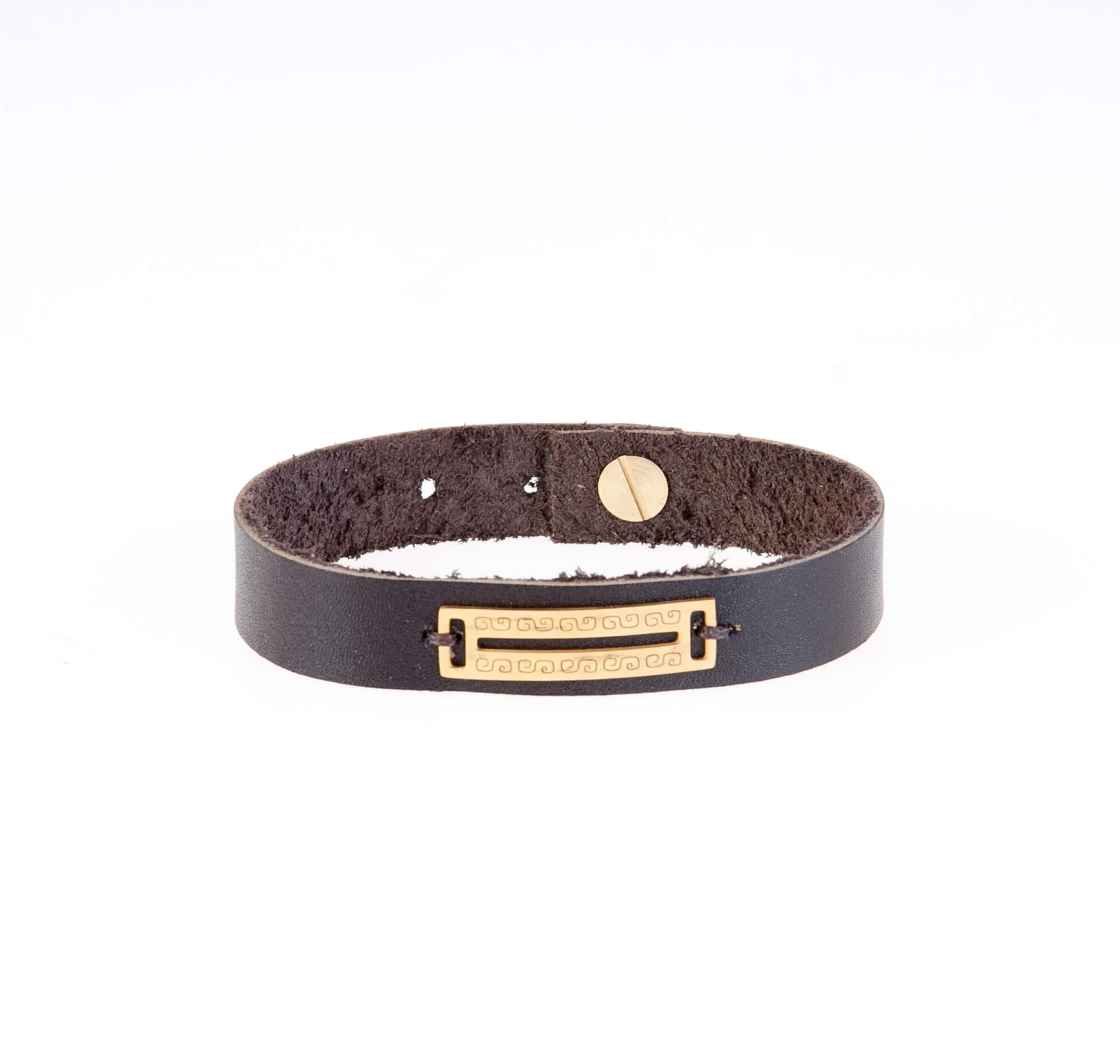 دستبند چرمی با یراق طلایی مردانه LM1014