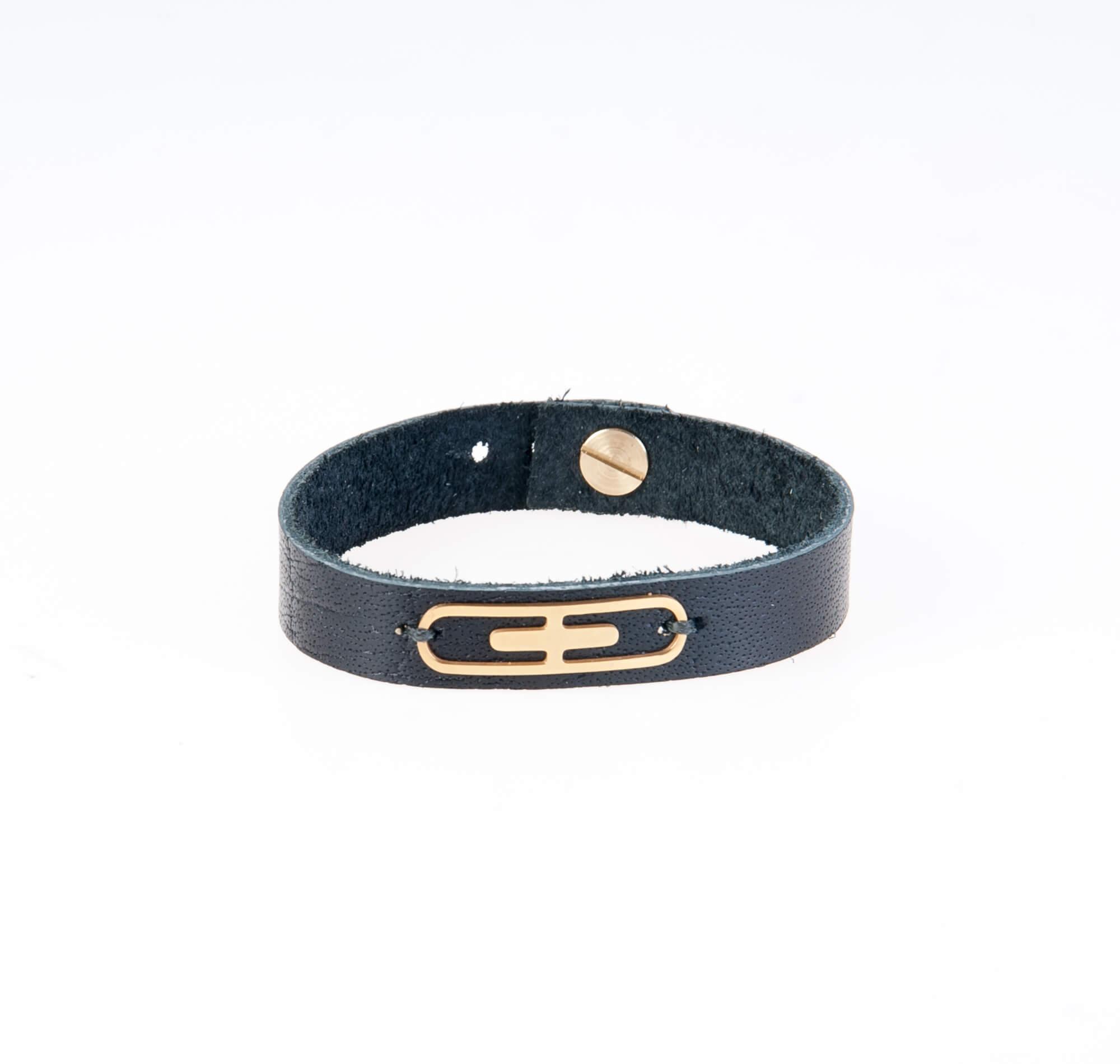 دستبند چرمی یراق طلایی مردانه LM1015