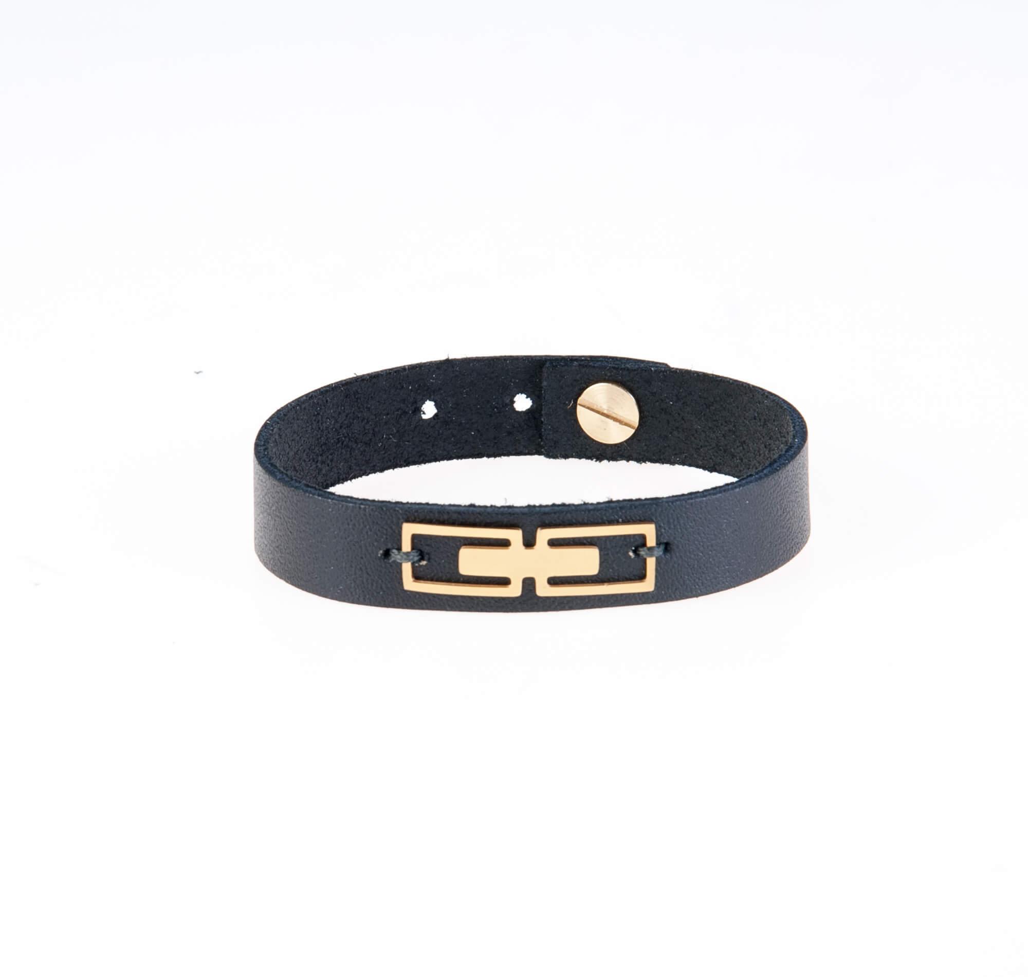 دستبند چرمی طلایی فلزی مردانه LM1016