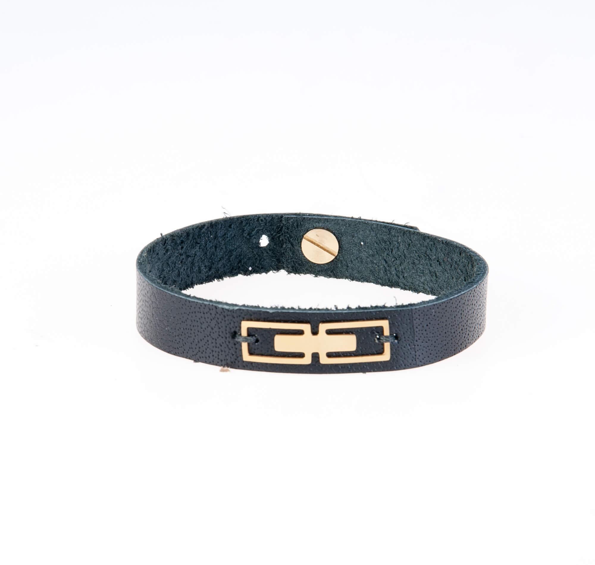 دستبند چرمی مشکی طلایی مردانه LM1017