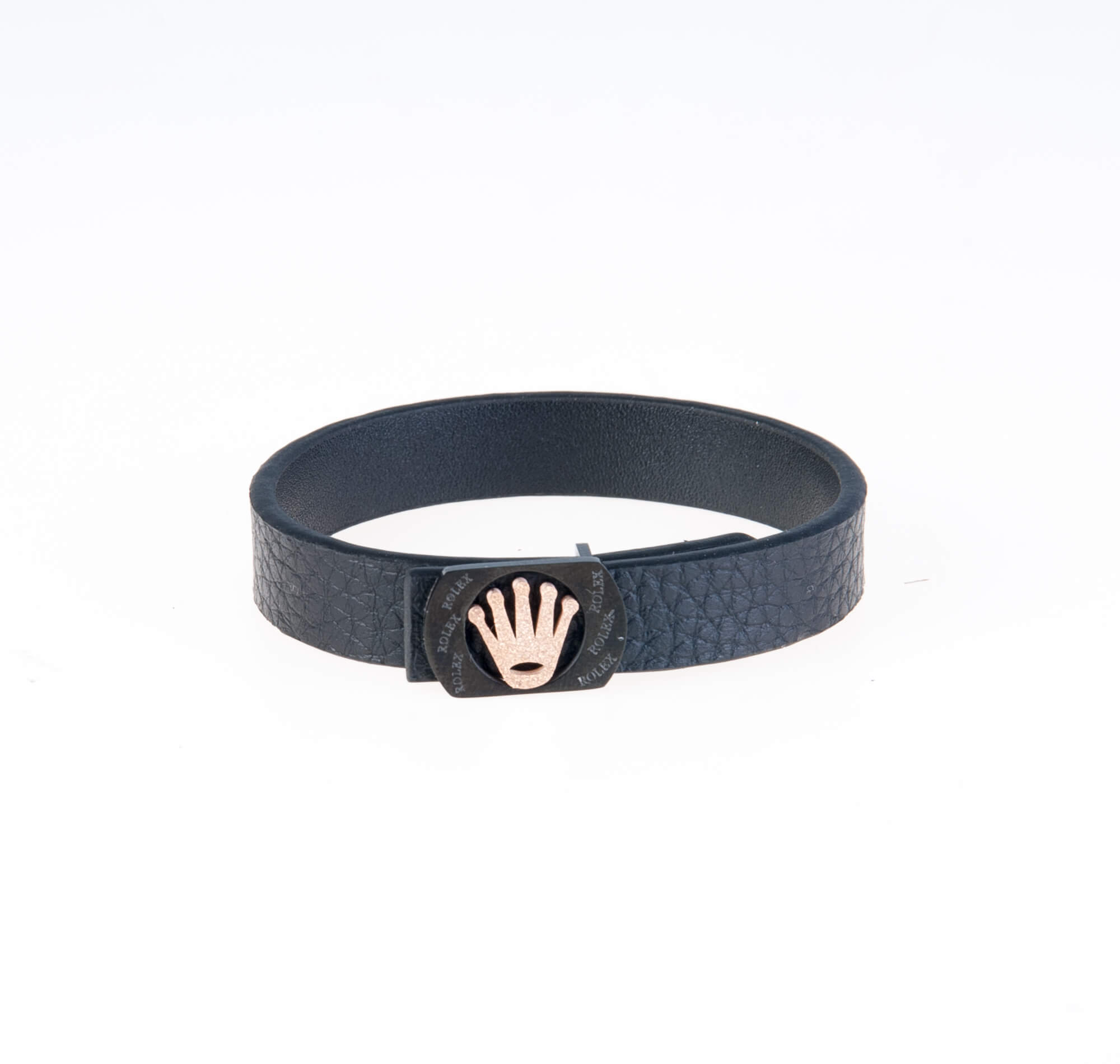 دستبند چرمی مشکی طلایی مردانه LM1020