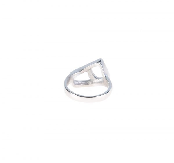 انگشتر مردانه استیل نقره ای با طرح ه کد RI1005