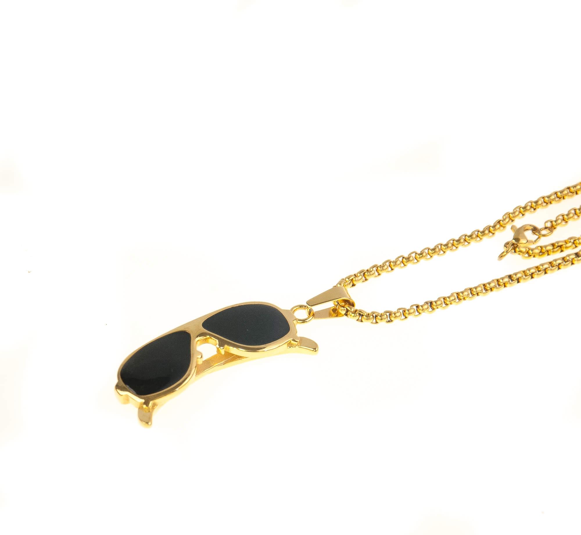 گردنبند استیل طلایی مدل عینک NM1016