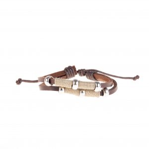دستبند چرمی-کنفی مردانه kM1002