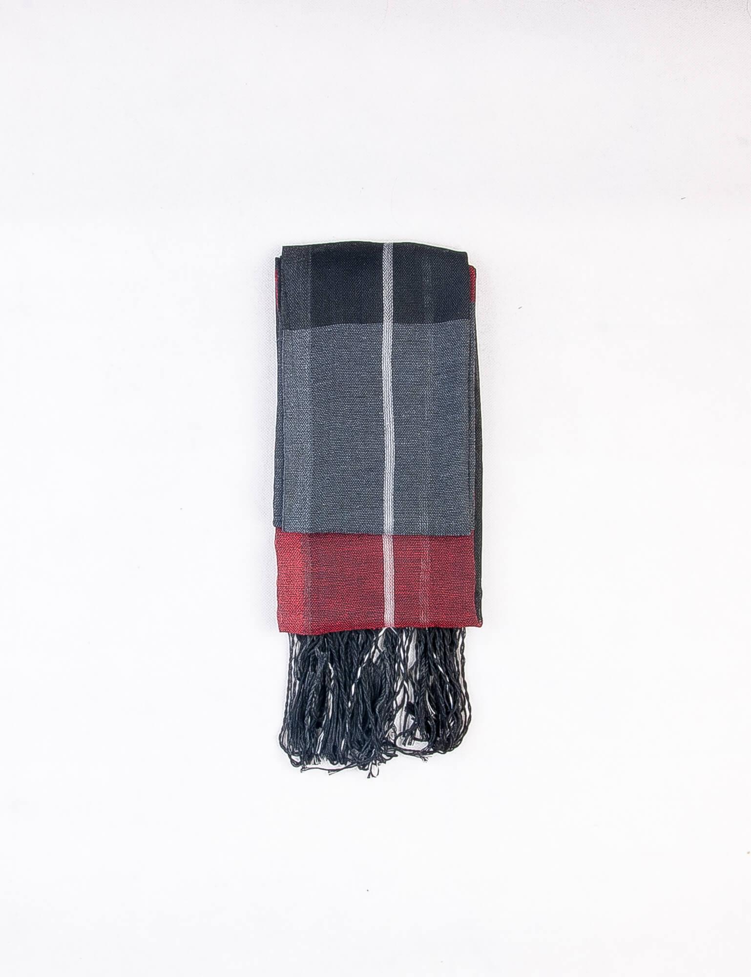 شال گردن مردانه طرح دار مشکی-قرمز SH1001