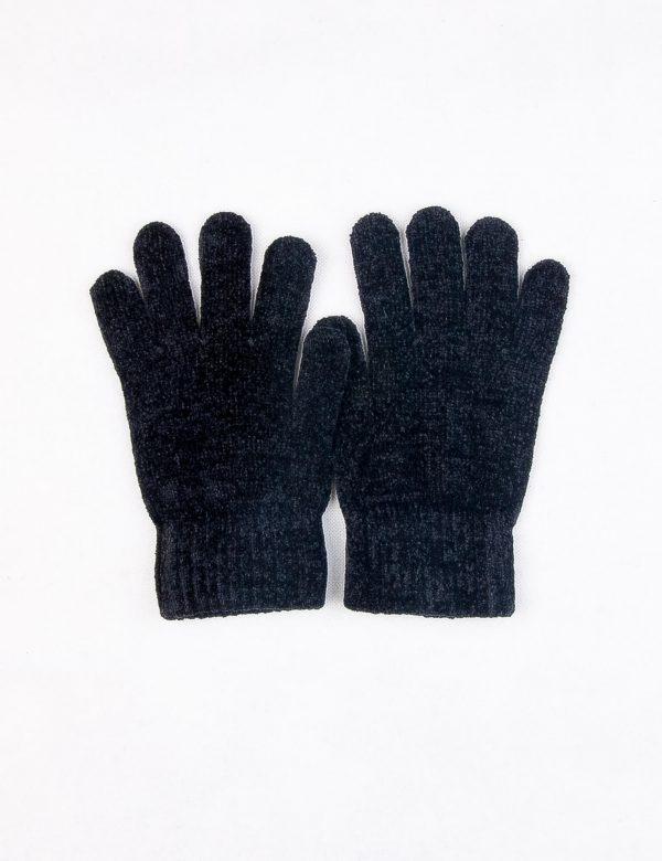 دستکش مردانه ساده مخملی مشکی