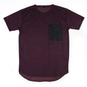 تی شرت مردانه زرشکی s1016 - pull&bear