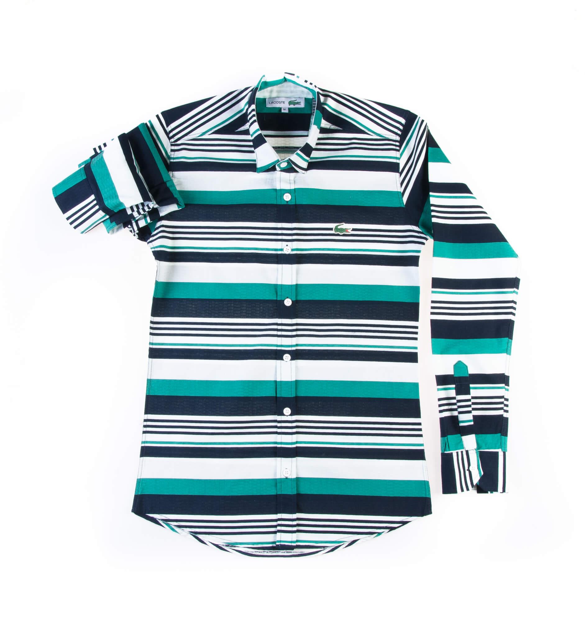 پیراهن مردانه طرح لاکوست راه راه P1005