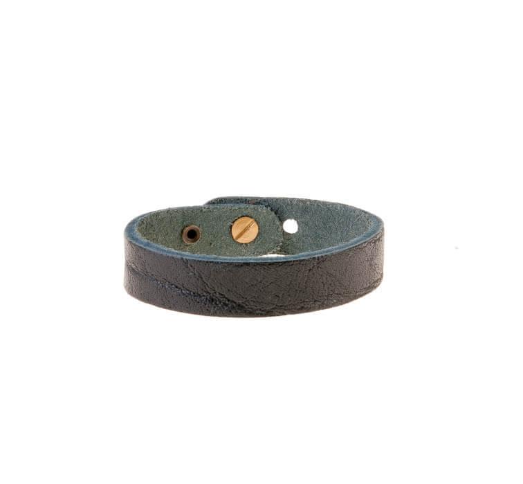دستبند بافت دار چرمی مشکی مردانه LM1031