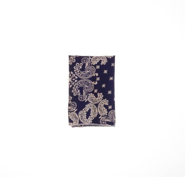 دستمال جیب طرح دار سورمه ای سفید PSH1077
