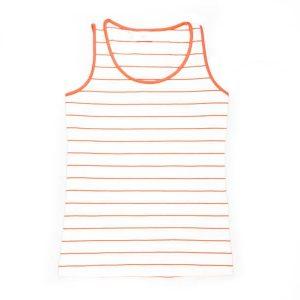 تاپ زنانه جنس نخی طرح راه راه رنگ سفید نارنجی برند bpc