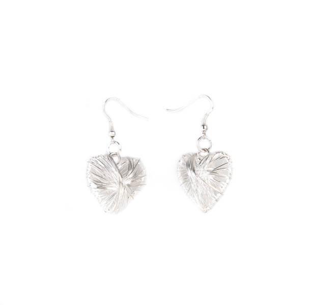 گوشواره آویزی فلزی طرح قلب دست ساز کد EC1142