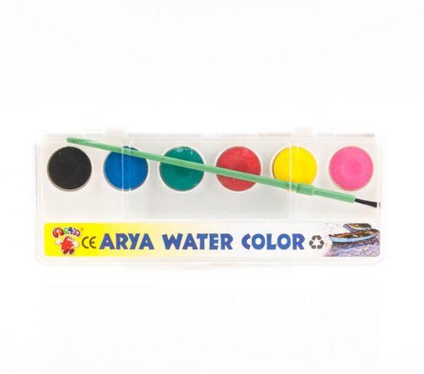 آبرنگ آریا 6 رنگ همراه با قلمو