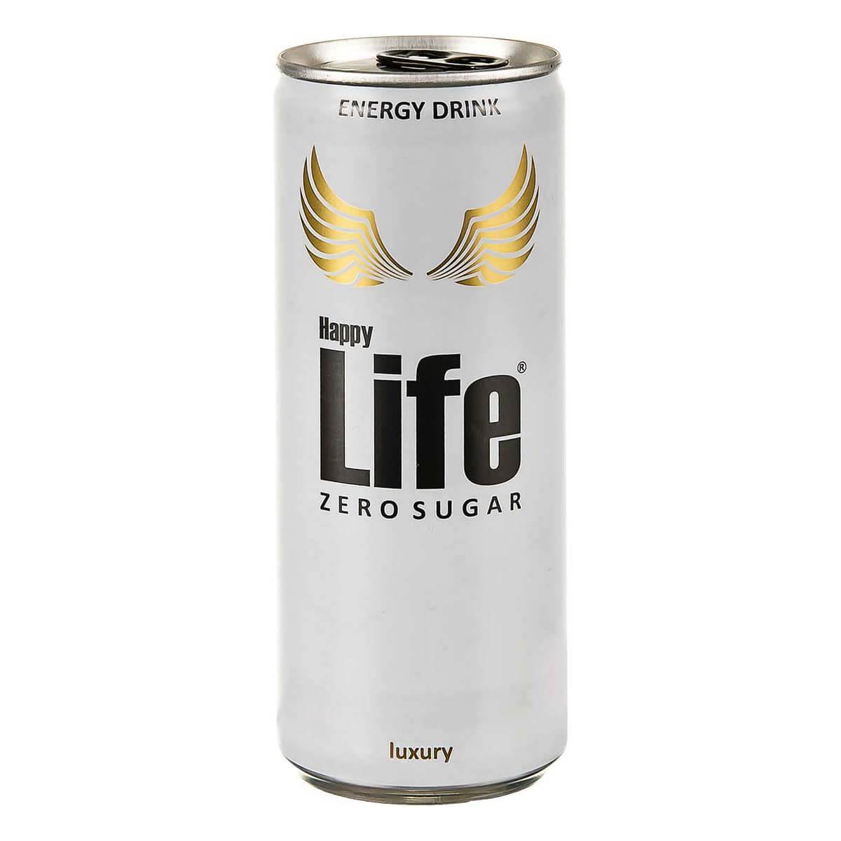 نوشابه انرژی زا هپی لایف Life مدل بدون قند Zero Sugerحجم 250 ml