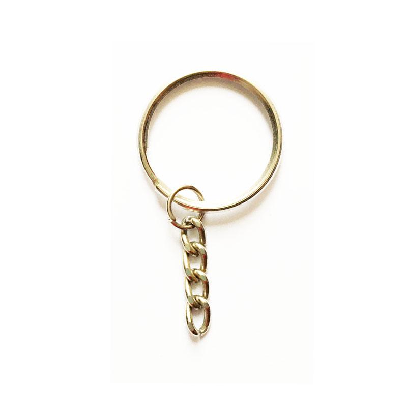 حلقه جا کلیدی نقره ای با زنجیر 30mm بسته 5 عددی