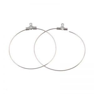 حلقه گوشواره نقره ای استیل 40mm بسته دو عددی