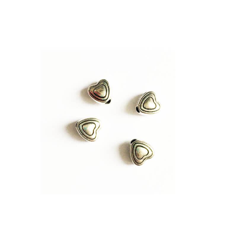 خرج کار نقره ای قلب بسته 6 عددی 5mm