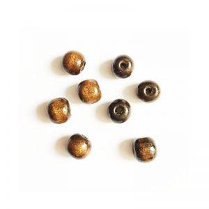 مهره چوبی گرد قهوه ای تیره 1cm بسته 30 عددی 1