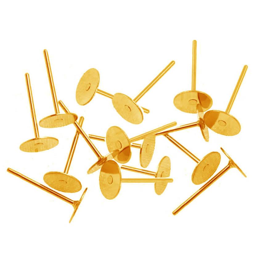 میخ گوشواره تخت طلایی 6ml بسته 34 عددی