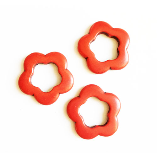 سنگ فیروزه قرمز طرح گل 3/5 cm بسته 12 عددی