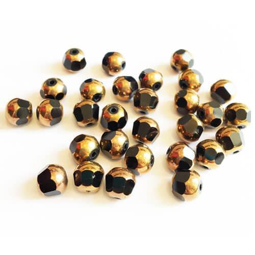 مهره کریستال دو رنگ مشکی طلایی بسته 30 عددی