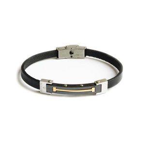 دستبند چرم استیل مشکی نقره ای مردانه LM1041