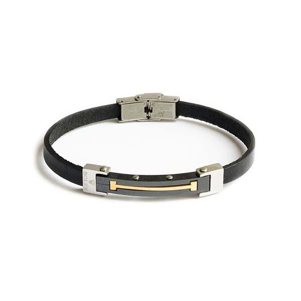 دستبند چرم استیل طرح رولکس مردانه LM1041