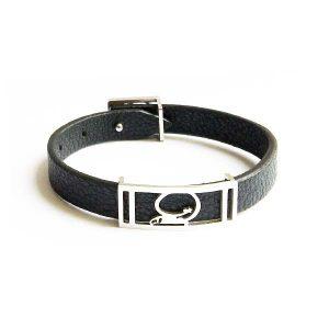 دستبند چرم استیل مشکی نقره ای مردانه LM1040