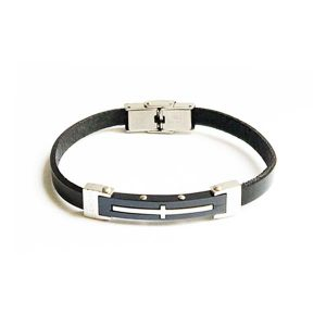 دستبند چرم استیل طرح مونت بلان مردانه LM1042