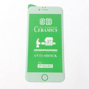 گلس محافظ صفحه نمایش سرامیکی براق 9D اپل مدل 6 سفید